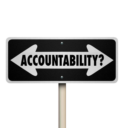 accountability: Accountability word on two way road sign arrows asking if anyone is responsible or to blame for a mistake, problem, trouble or issue