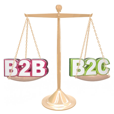 vs: B2B vs B2C acronyms or abbreviation letters on a gold scale comparing sales to businesses or consumers