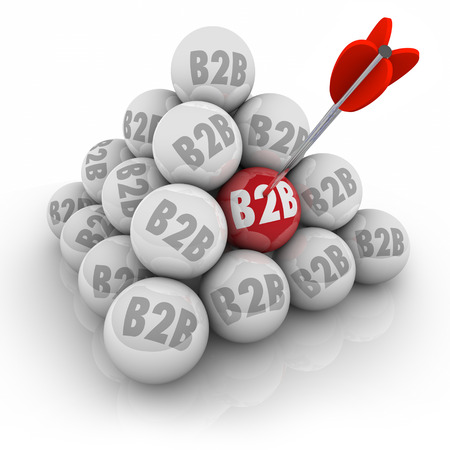 two visions: B2B abbreviation or acronym on balls in a 3d pyramid and arrow in one red ball targeting business sales to other companies