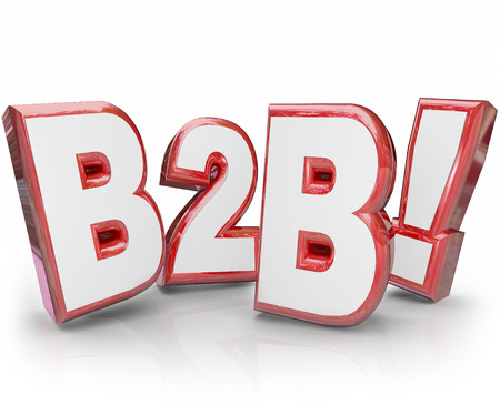 abbreviation: B2B acronym or abbreviation in red 3d letters as Business to Business model of selling to other companies in your market or industry