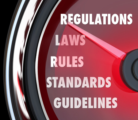 ordinances: Regulations word on a speedometer or gauge measuring your compliance with rules, guidelines, laws, codes or ordinances