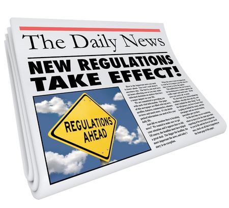 새로운 규정은 생활, 비즈니스 또는 경력에 영향을 미치는 규칙과 법률을 알리는 효과 신문의 헤드 라인을 가지고 스톡 콘텐츠