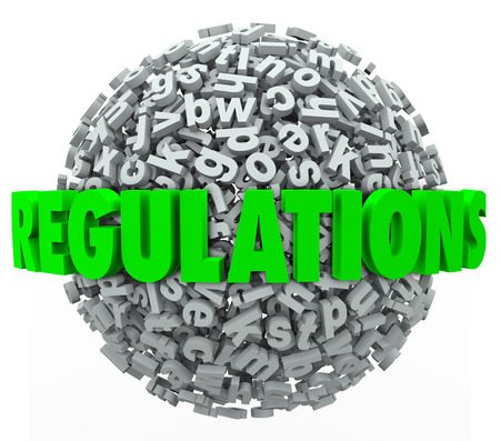 government regulations: Regulations word in green 3d letters on a ball or sphere of letters illustrating the overwhelming number of confusing laws and rules you must follow