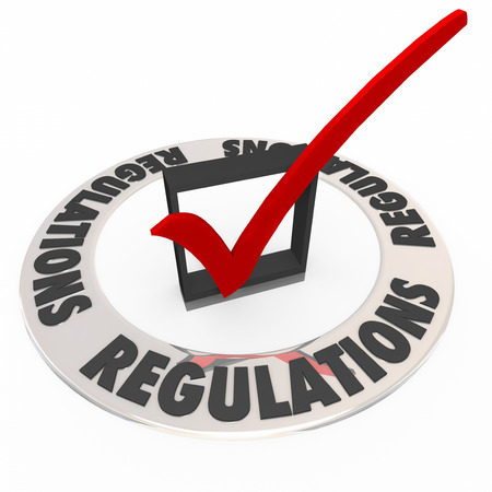 regulating: Regulations in a ring around a check mark and box approving or confirming that rules, guidelines, laws or standards have been met