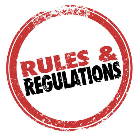 Rules and Regulations words in a red stamp illustrating laws, guidelines and standards you must follow in life or business