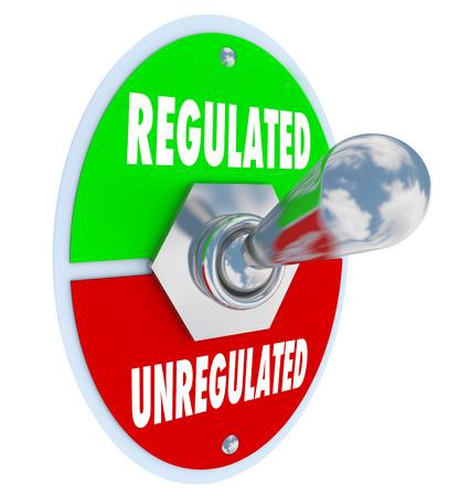 ordenanza: Regulado vs palabras no reguladas en un interruptor de palanca como gobierno u otras autoridades aprueban nuevos guidlenes, reglas, leyes, normas o reglamentos para su negocio
