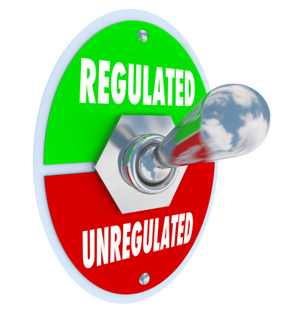 government regulations: Regulated vs Unregulated words on a toggle switch as government or other authorities approve new guidlenes, rules, laws, standards or regulations for your business