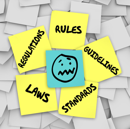 ordinances: Rules, Regulations, Laws, Standards and Guidelines words on yellow sticky notes on a bulletin board  and a stressed face at the center
