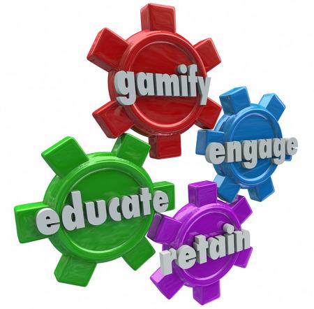 verlobung: Gamify Engage erziehen und Bewahren Worte auf vier Gängen auf die Leistungen von Gamification in der Software-und Online-Lernen oder Marketing erreichen Studenten oder Kunden zu zeigen, Lizenzfreie Bilder