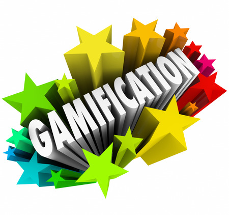 marketing plan: Gamification word in colorful stars or fireworks to gamify your marketing campaign or educational program or plan