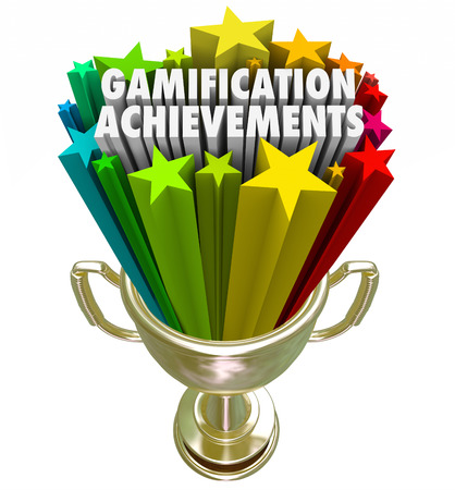 Gamification Achievement words and stars shooting out of a golden trophy as a prize or reward for advancing or winning an online competition or game Stock Photo - 30365947