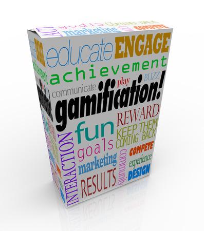 koncept: Spelifiering ord på en produktförpackning eller låda inklusive utbilda, engagera, roligt, belöning, tävla, erfarenhet och design Stockfoto
