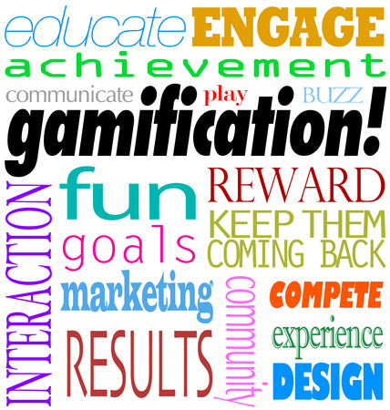 Gamification word background including educate, engage, acheivement, interaction, fun, goal, marketing, results, rewards and keep them coming back Stock Photo