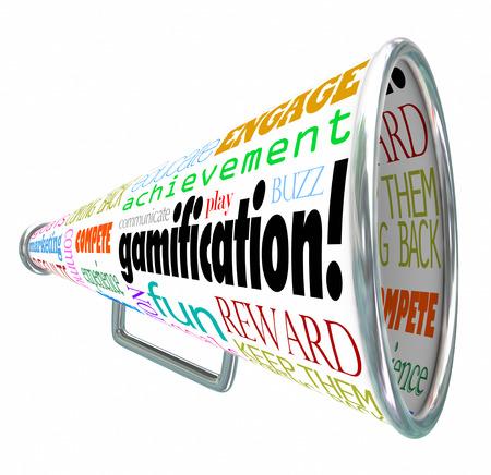 Gamification하고, 재미, 성취, 교육 참여, 놀이, 통신 등의 확성기 또는 물러나에 관련 단어, 보상 및 돌아와 계속