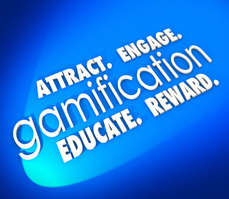 retain: Gamification word on a blue background and Attract, Engage, Educate and Retain students, customers or your audience