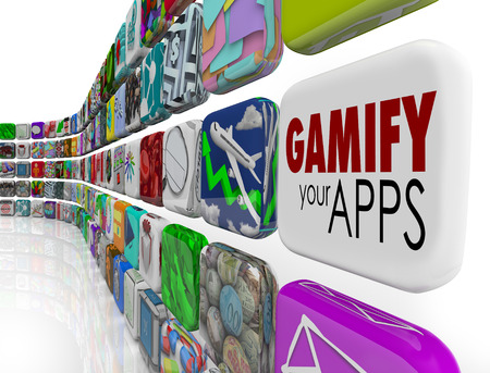 retain: Gamify Your Apps words on an app tile encouraging you to add gamification to your online or digital marketing campaign to retain, reward and educate customers