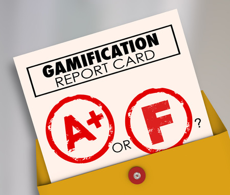 grades: Gamification Report Card with A+ or Plus vs F to ask if results of gamifying your marketing or educational efforts are a success or failure Stock Photo