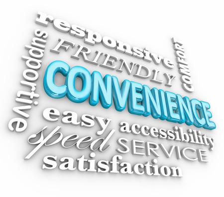 용어 응답, 빠른 속도, 서비스, 친절, 지원 등을 통해 편의성 차원 단어 콜라주 스톡 콘텐츠 - 30365931