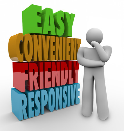 user friendly: Easy, Convenient, Friendly and Responsive 3d words and a thinking person or thinker beside it considering choices and options Stock Photo