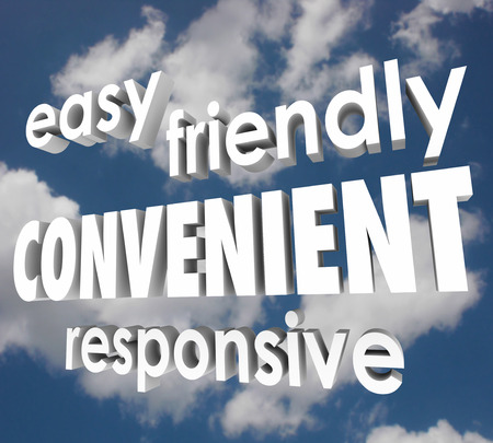 idea comfortable: Easy, Friendly, Convenient and Responsive  words in 3d letters to illustrate service that is fast and high quality Stock Photo