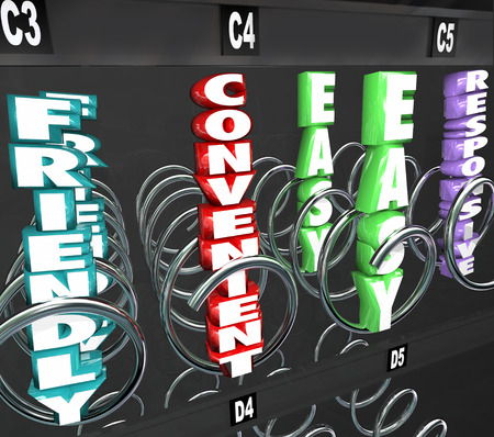 user friendly: Convenient, Friendly, Easy and Responsive 3d words as products youre shopping for in a vending or snack machine Stock Photo