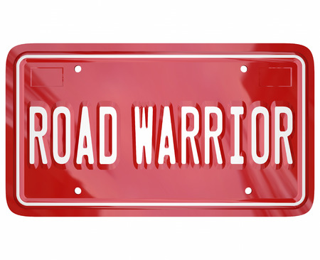 road warrior: Road Warrior words on red license plate for business traveler or salesperson always on the road and away from home Stock Photo
