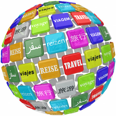 Travel word in many languages around 3d world including English, French, German, Chinese,  Japanese and Spanish