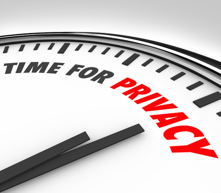 time sensitive: Time for Privacy words on a 3d clock face sensitive personal information data safety Stock Photo