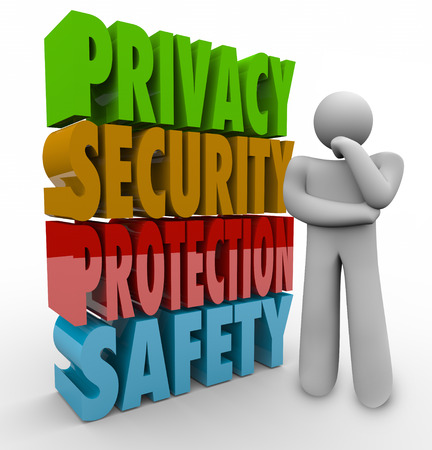 Privacy, security, protection and safety 3d words beside a person thinking about keeping personal information and data safe from theft and hacking photo
