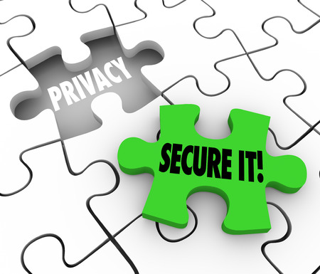 private information: Privacy and Secure It words on 3d puzzle pieces illustrate importance of locking and security of private sensitive information or data