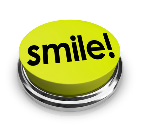 Smile word on a yellow 3d button sharing funny humor and good spirits to spread cheer photo
