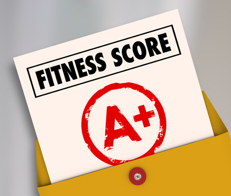 Fitness Score A+ on report card as evaluation results of your physical strength, endurance or health test photo