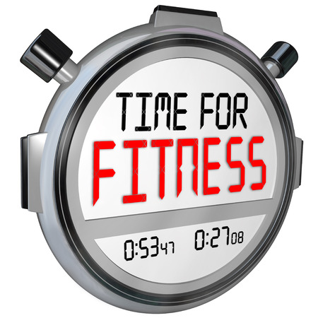 fitness goal: Time for Fitness words in digital letters on a timer or stopwatch for training in exercise, diet and physical strength or wellness