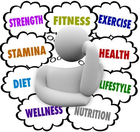 weight loss plan: Fitness, forza, resistenza, dieta, benessere ed esercizio fisico parole nuvole di pensiero sopra la testa di una persona pensante che progettano un regime di nutrizione e benessere