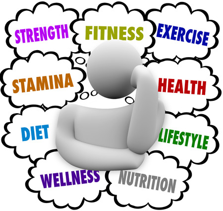 regimen: Fitness, strength, stamina, diet, wellness and exercise words in thought clouds above a thinking persons head planning a nutrition and wellness regimen