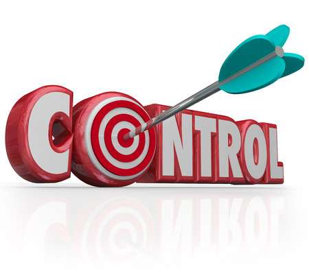 restricting: Control word with bulls-eye in letter O targeting a position of power, influence, leadership and respect