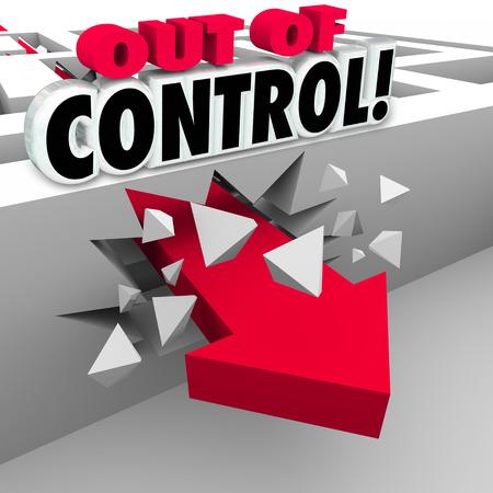 breaking through: Fuera de palabras de control m�s de un 3d flecha roja rompiendo una pared laberinto como la mala gesti�n de un asunto, problema o dificultad en el caos o desorden