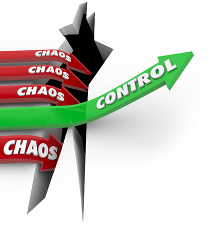 chaos: Control word on a green arrow rising over a problem or trouble while Chaos on red arrows plunge into the pit of failure