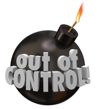 blow up: Out of Control words on a black round bomb about to blow up as a failure or mismanagement job, project or company in trouble Stock Photo