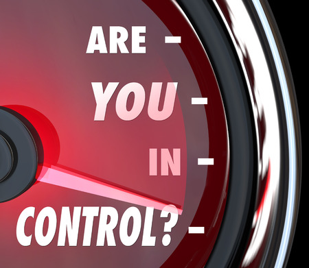 Are You In Control words on a speedometer asking if you're the person leading an organization or if you have a handle on things you must manage