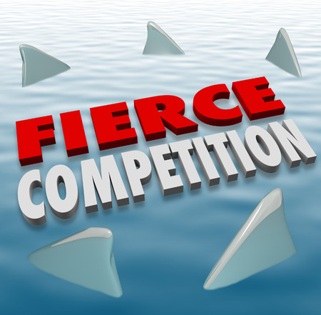 relentless: Fierce Competition words in 3d letters on water with shark fins as formidable competitors in a game or challenge Stock Photo