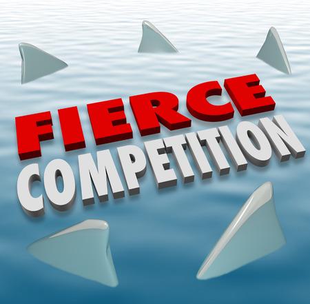 feroz: Palavras acirrada competi��o letras 3d na �gua com as barbatanas dos tubar�es como concorrentes de peso em um jogo ou desafio