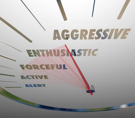 implacable: Termes agressifs et connexes comme enthousiaste, �nergique, actif et alerte sur un compteur de vitesse ou instrument de mesure et la fa�on dont vous �tes gras Banque d'images