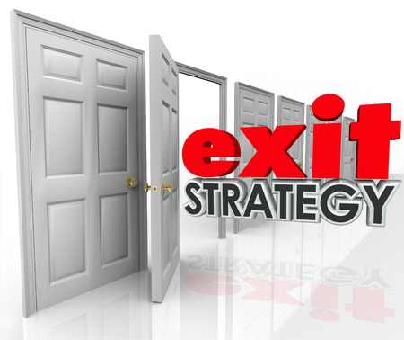 means to an end: Exit Strategy 3d words going out an open door exiting, leaving, escaping or withdrawing from a company, partnership, agreement, contract or marriage