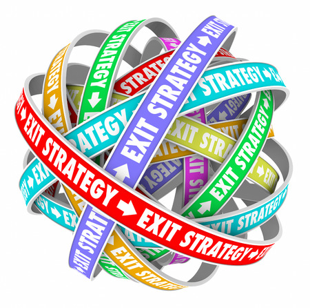 means to an end: Exit Strategy words on colored spiral ribbons in endless confusing cycle showing way out of a contract or marriage