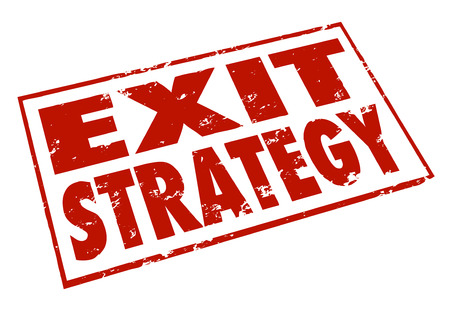 means to an end: Exit Strategy words stamped in red ink giving a way out or escape from a contract, agreement or partnership