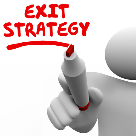 Exit Strategy words written by man with a red pen or marker planning a way out of an agreement, contract, partnership, marriage or other arrangement