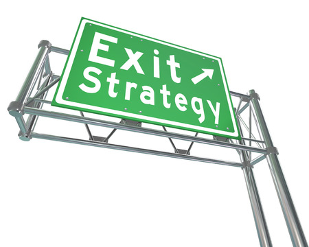 terminating: Exit Strategy words on a greed freeway, highway or road sign giving you directions to a way out