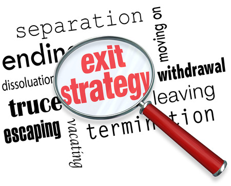 terminating: Exit Strategy words under a magnifying glass with terms separation, ending, dissolution, truce, escape, moving on, withdrawal, leaving and termination Stock Photo