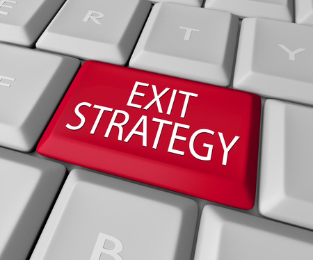 means to an end: Exit Strategy words on a computer keyboard button or key as way out of contract, agreement, partnership, marriage or other arrangement